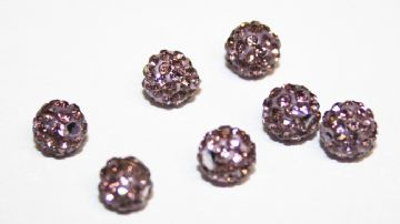 10pcs x 6mm Violet Pave Crystal Bead - 2 holes  PCB06-55-029